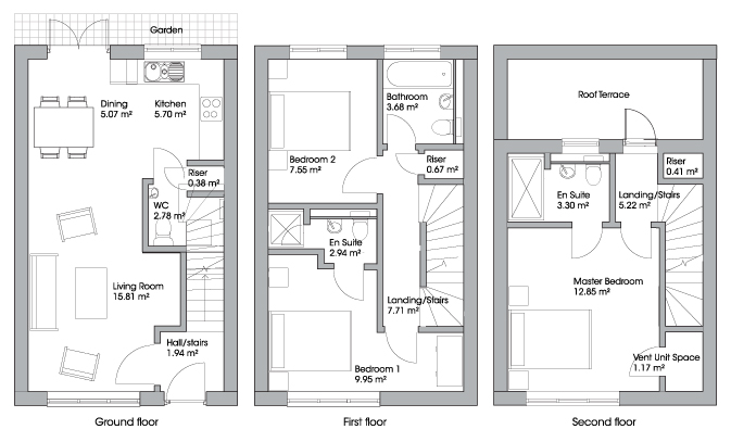 Floor plans of houses